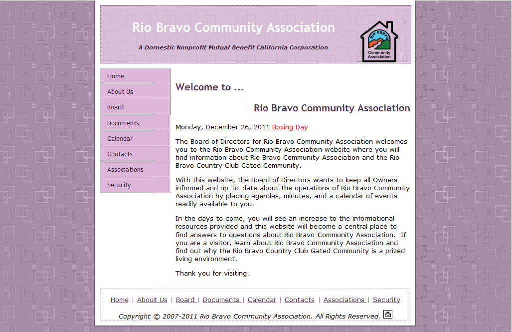 Rio Bravo Community Association Website